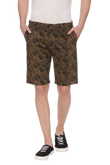 Basics | Basics Comfort Fit Chocolate Chip Khaki Printed Shorts