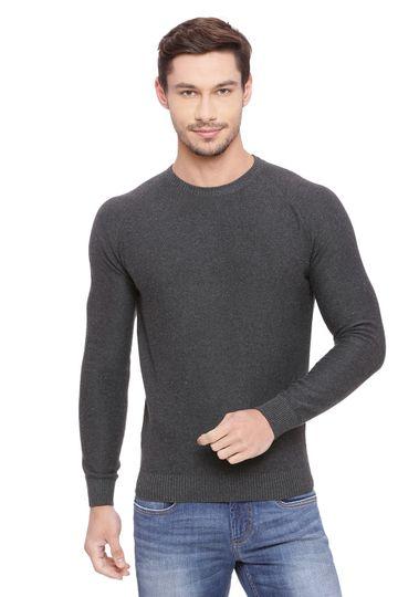 Basics | Basics Muscle Fit Charcoal Heather Crew Neck Sweater