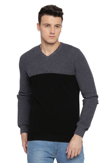 Basics | Basics Muscle Fit Jet Black V Neck Sweater