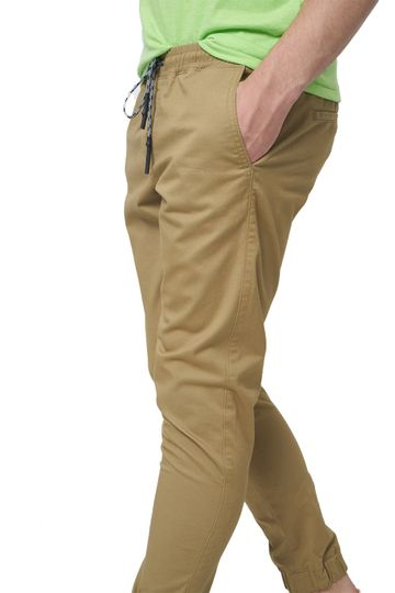 Basics   Basics Jogger Fit Prairie Sand Khaki Stretch Trouser