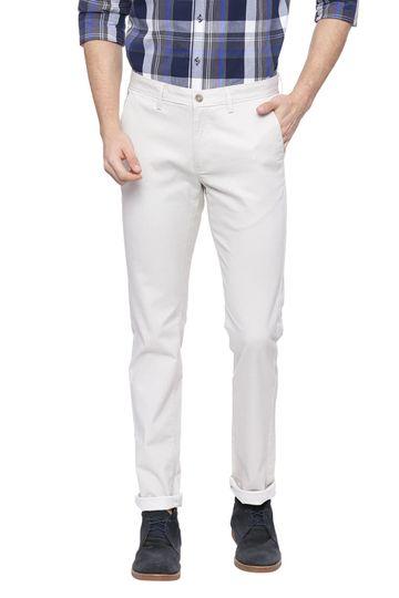 Basics | Basics Skinny Fit White Sand Ecru Printed Stretch Trouser