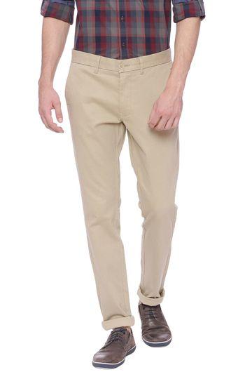 Basics   Basics Skinny Fit Cement Khaki Printed Stretch Trouser