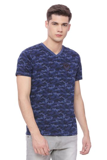 Basics | Basics Muscle Fit Blue Camo V Neck T Shirt