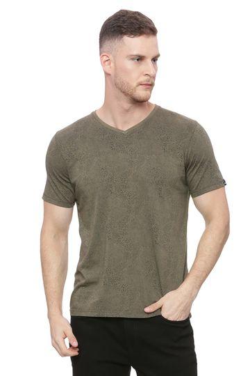 Basics | Basics Muscle Fit Harvest Gold Printed V Neck T Shirt