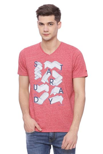 Basics | Basics Muscle Fit Jester Red V Neck T Shirt