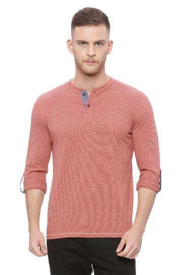 Basics | Basics Muscle Fit Ketchup Red Henley T Shirt