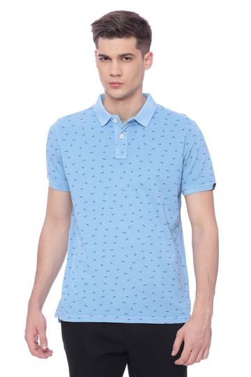 Basics | Basics Muscle Fit Alaskan Blue Printed Polo T Shirt