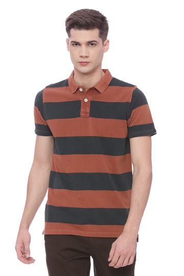Basics   Basics Muscle Fit Sierra Brown Polo T Shirt