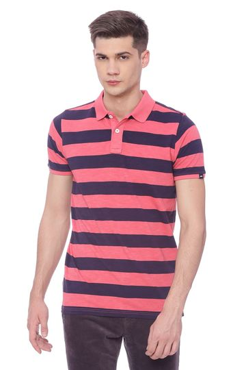 Basics | Basics Muscle Fit Calypso Coral  Striped Rugby Polo T Shirt