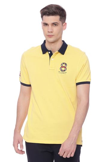 Basics | Basics Muscle Fit Snap Dragon Yellow Polo T shirt
