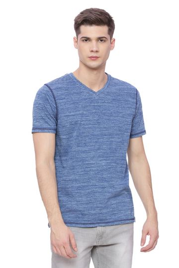 Basics | Basics Muscle Fit Spaced Denim V Neck T Shirt