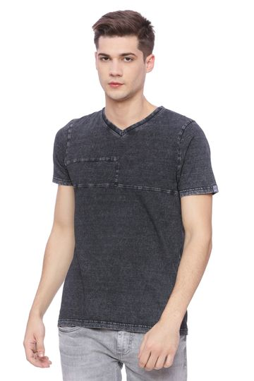 Basics | Basics Muscle Fit Sulphur Black V Neck T Shirt