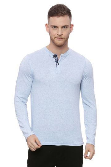 Basics | Basics Muscle Fit Blue Grace Henley Long Sleeve T Shirt