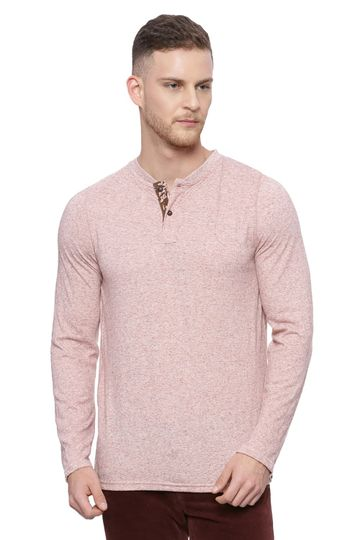 Basics | Basics Muscle Fit Bombay Brown Henley Long Sleeve T Shirt