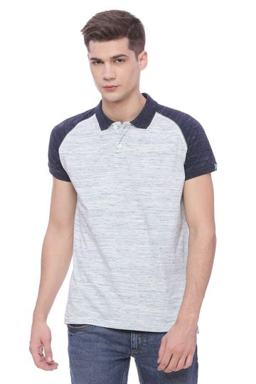 Basics | Basics Muscle Fit Space Blue Raglan Polo T shirt