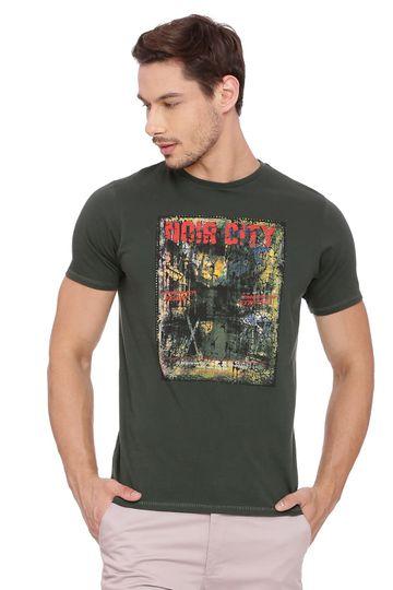 Basics   Basics Muscle Fit Deep Forest Crew Neck T Shirt