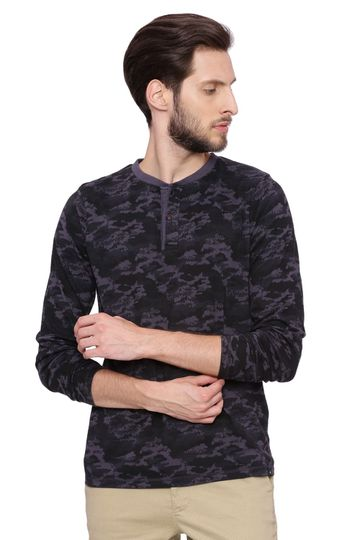 Basics   Basics Muscle Fit Grey Camo Henley T Shirt