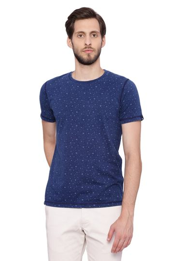 Basics | Basics Muscle Fit Indigo Denim Crew Neck Printed T Shirt