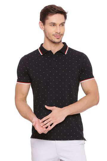 Basics | Basics Muscle Fit Jet Black Printed Polo T Shirt