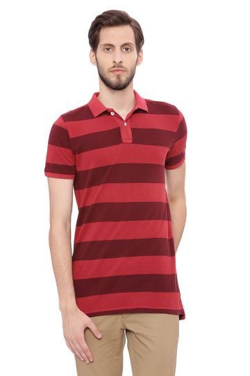 Basics | Basics Muscle Fit Rosewood Pink Striped Rugby Polo T Shirt