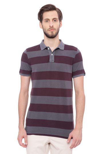 Basics | Basics Muscle Fit Dark Shadow Grey Striped Rugby Polo T Shirt
