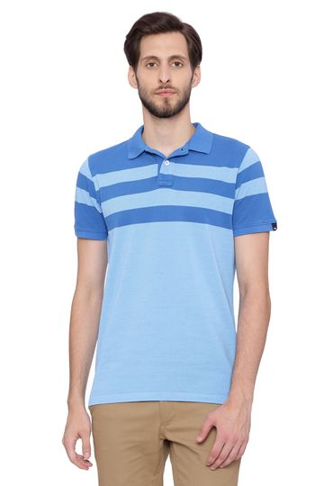 Basics | Basics Muscle Fit Alaskan Blue Stripes Polo T Shirt