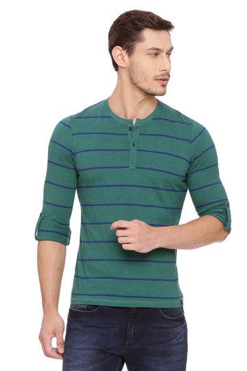 Basics   Basics Muscle Fit Evergreen Henley T Shirt