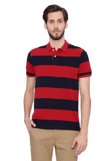 Basics | Basics Muscle Fit Dark Red Striped Polo T Shirt