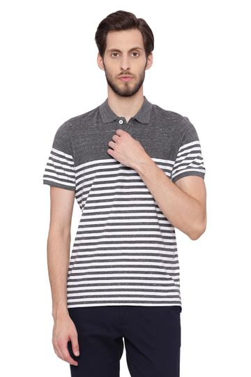 Basics | Basics Muscle Fit Anthracite Black Striped Polo T Shirt