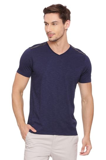 Basics | Basics Muscle Fit Peacoat Navy V Neck T Shirt