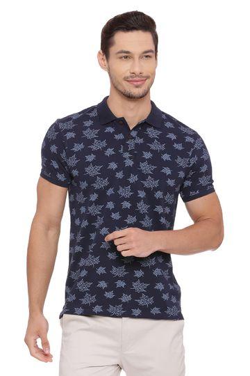 Basics | Basics Muscle Fit Blue Night Printed Polo T Shirt