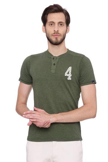 Basics   Basics Muscle Fit Rifle Green Henley T Shirt