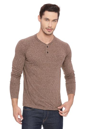 Basics | Basics Muscle Fit Toffee Henley Long Sleeve T Shirt