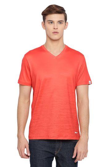 Basics | Basics Muscle Fit Flame Orange V Neck T Shirt