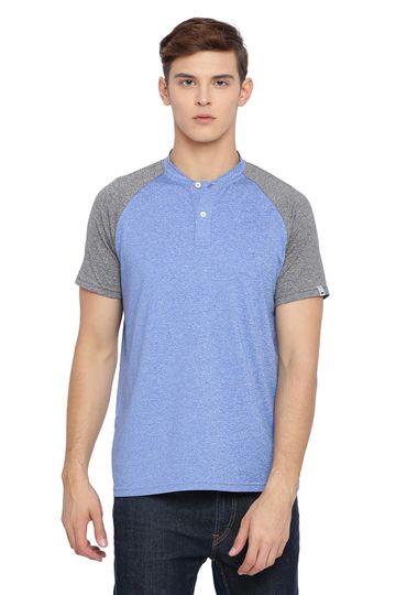 Basics | Basics Muscle Fit Regatta Blue Henley T Shirt