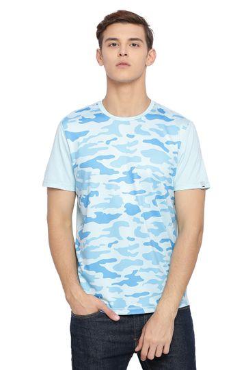 Basics | Basics Muscle Fit Placid Blue Printed Crew Neck T Shirt