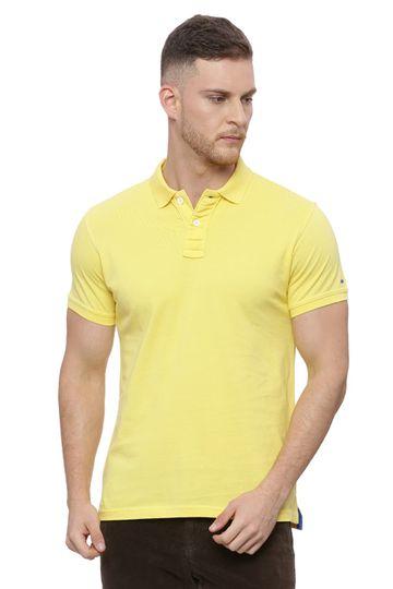 Basics   Basics Muscle Fit Lemon Yellow Polo T Shirt