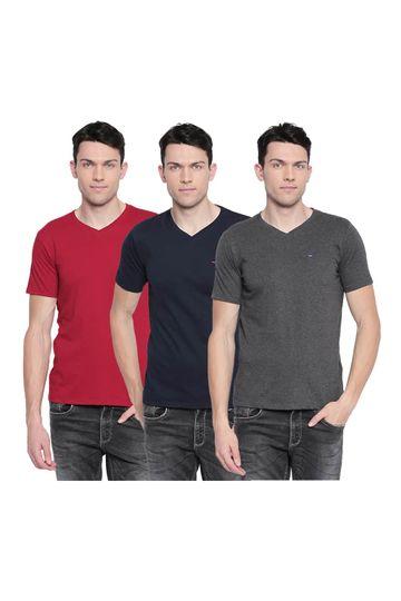 Basics   Basics Value Pack of 3 Muscle Fit V-Neck T-Shirts