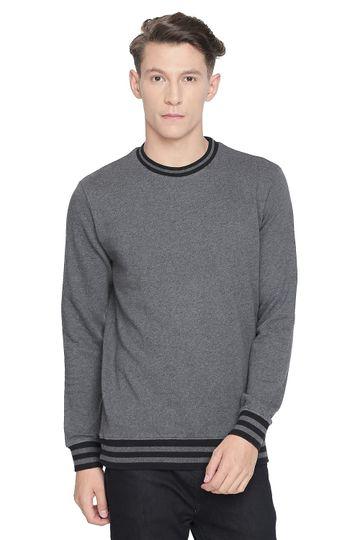 Basics | Basics Muscle Fit Anthracite Melange Crew Neck Pullover Knit Jacket