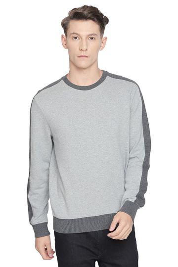 Basics | Basics Muscle Fit Pewter Melange Crew Neck Pullover Knit Jacket