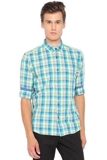 Basics | Basics Slim Fit Kelly Green Checks Shirt