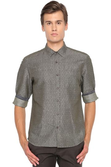 Basics | Basics Slim Fit Lichan Olive Printed Shirt