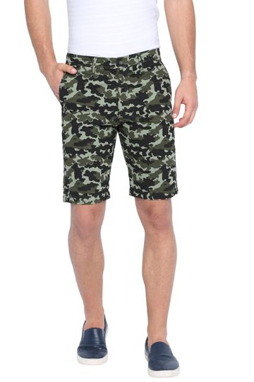 Basics | Basics Comfort Fit Oil Green Camo Printed Cotton Shorts