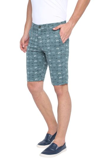 Basics | Basics Comfort Fit Blue Saphire Printed Cotton Shorts