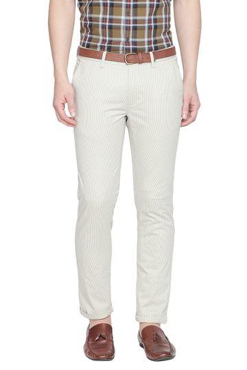 Basics   Basics Tapered Fit Dove Ecru Printed Stretch Trouser With Belt