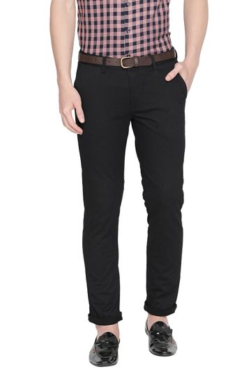 Basics | Basics Tapered Fit Caviar Black Printed Stretch Trouser With Belt