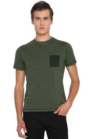 Basics   Basics Muscle Fit Rifle Green Crew Neck T Shirt