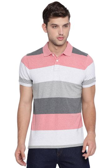 Basics | Basics Muscle Fit Coral Heather Striped Polo T Shirt