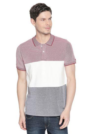 Basics | Basics Muscle Fit Chilli Pepper Striped Polo T Shirt