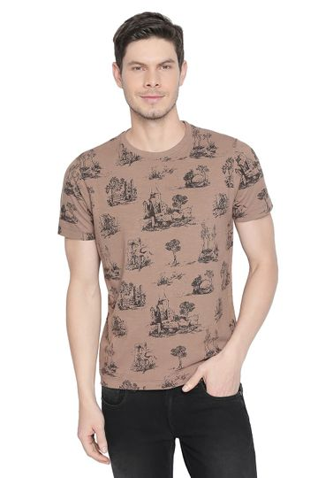 Basics   Basics Muscle Fit Shitake Printed Crew Neck T Shirt